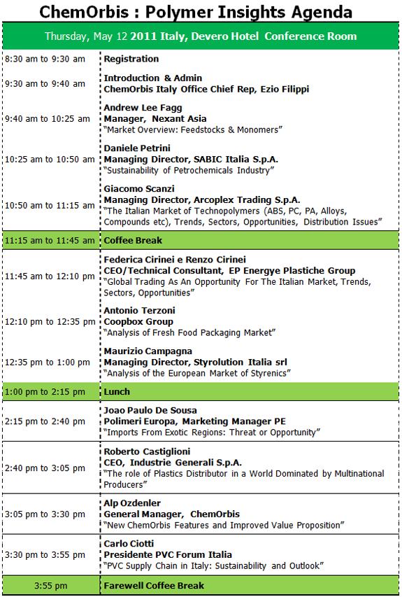 Agenda – Event Agenda